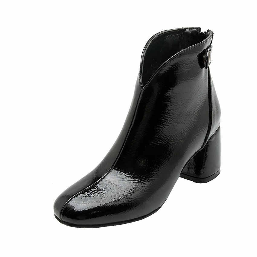 ESVEVA 2020 Kadın Ayakkabı Kış yarım çizmeler Kare Yüksek Topuk PU Patent Deri Batı Tarzı Motosiklet Platform Çizmeler Boyutu 34- 43