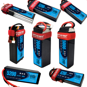 DXF lipo Battery 2S 3S 4S 7.4V 11.1V 14.8V 5000mah 5200mah 6500mah 7000mah 50C 100C 60C 120C 200C for rc car Buggy Drone  truck gtfdr 2pcs 2s lipo battery 7 4v 7 6v hv 8400mah 7000mah 6200ma 5200mah 140c 280c 100c 200c 60c 120c 4mm for 1 8 1 10 road rc car