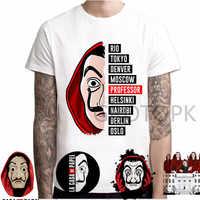 XL-3XL hombres diseño divertido La Casa De Papel camiseta dinero golpe camisetas Series TV camisetas hombres Casa De manga corta papel de camiseta