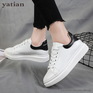 Image 2 - New Designer Shoes Woman Wedges Platform Sneakers Lace Up Breathable Casual Chunky  Ladies White  C0 91