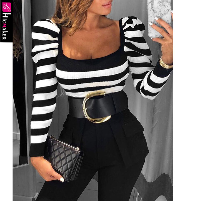 Striped Puff Sleeve Casual Blouse Women Long Sleeve Square Neck Spring Fall Chic Casual Slim Top Shirt