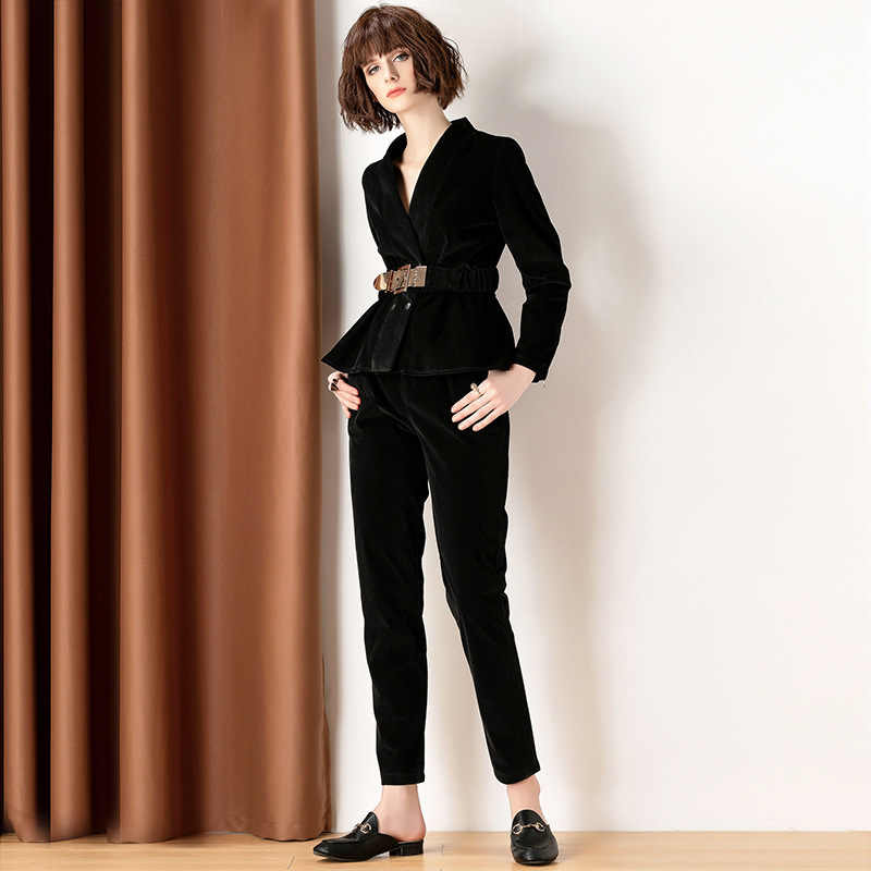 2 peça roupas para as senhoras elegantes escritório wear duas peças conjunto superior e calças primavera outono streetwear roupas lwl1635