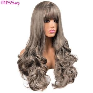 Image 4 - Длинные волнистые парики MISS WIG для чернокожих женщин, афроамериканские синтетические волосы, розовые, коричневые, с челкой, термостойкий