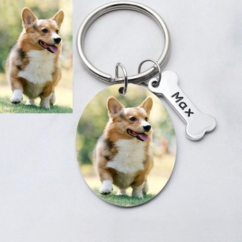 Personalized Photo Keychain, Custom Picture Key Chain, Engraved Dog Photo Key Ring, Custom Christmas gift custom dog tag photo keychain stainless steel engraved photograph text diy key chain for love dog keepsake