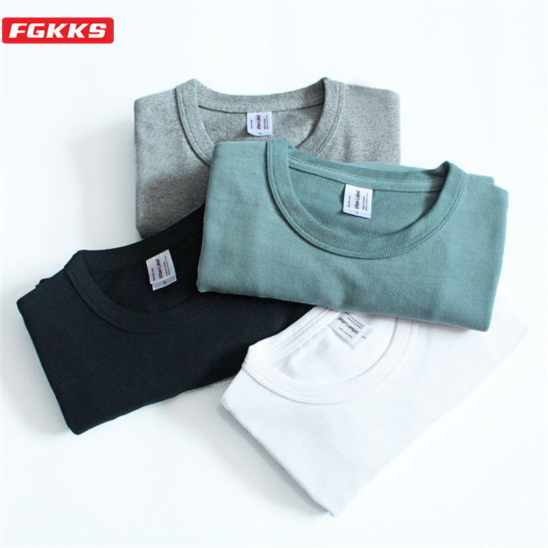 FGKKS T-shirt Men Solid Color Cotton T Short Sleeve T Shirt O-neck Casual T-shirts Tops & Tees Brand Clothing Men Top