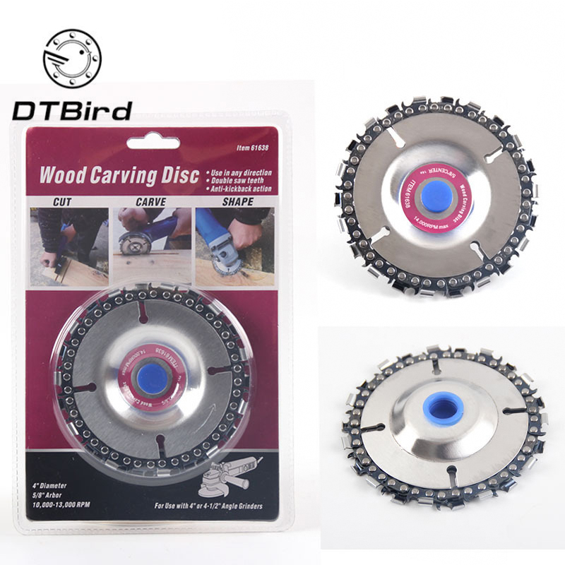 4 Inch Wood Carving Disc Cut Chain 22 Tooth Grinder Disc Fine Chainsaw Set W/ 2 Chains For 100/115 Angle Grinder Wooking Tools