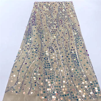 Hot French Nigerian sequins net lace,African tulle mesh lace fabric high quality for party wedding dress 5yards/lot K-L918