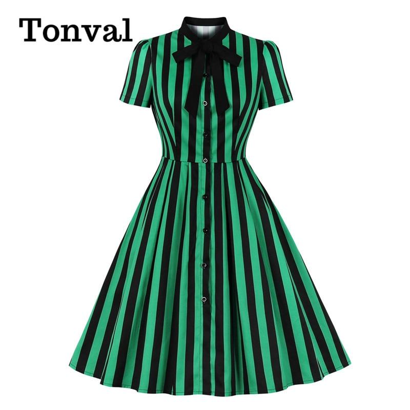 Tonval Bow Tie Neck Green Striped Vintage Robe Button Up Elegant Dresses for Women Office Lady Cotton Plus Size Retro Dress