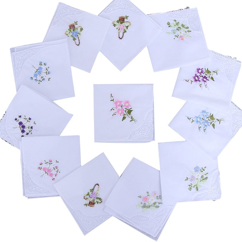 5 Pcs Women Cotton Square Handkerchiefs Lady Female Casual Floral Embroidered Butterfly Lace Pocket Towel Random Color