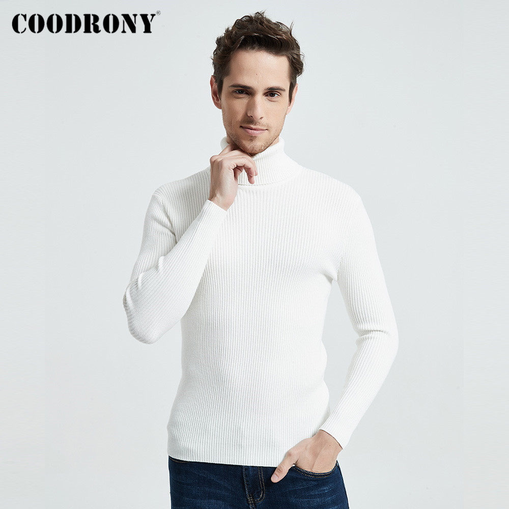 COODRONY Christmas Sweater Men Clothes 2021 Winter Thick Warm Casual Knitwear Turtleneck Pullover Classic Pure Color Jumper 8253