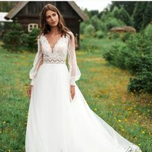 Wedding-Dress Puff-Sleeve Bridal-Gowns Tulle White Long Lace Sweep-Train Simple V-Neck