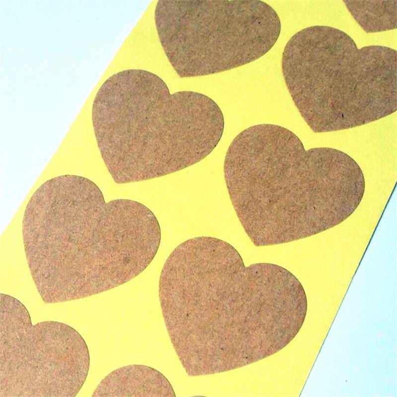 100 PCS/lot Vintage Warm Heart Design Kraft Paper Seal Sticker For Handmade Packaging Label DIY Self-adhesive Stickers