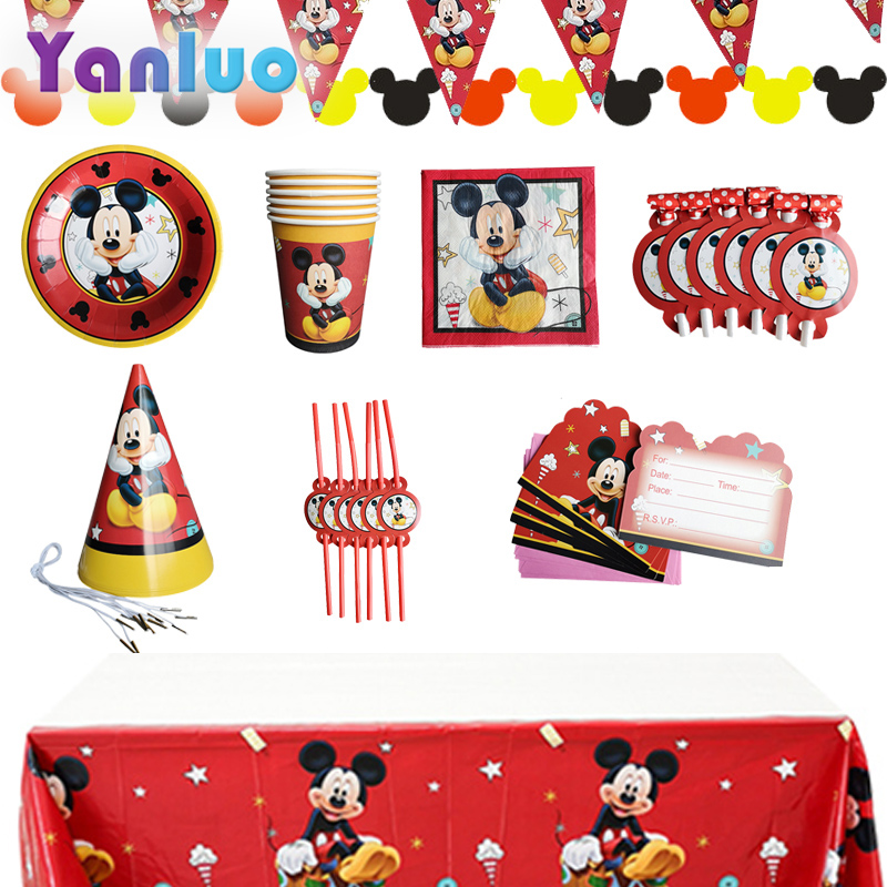 Mickey Mouse Mickey Party Disposable Tableware Plate Cup Tablecloth Kids Birthday Party Baby Shower Decorations Supplies