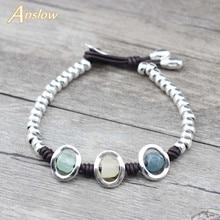 Anslow Brand New Fashion Jewelry Birthday Friendship Resin Leather Beaden DIY Bracelet For Women Kids Students Gift LOW0779LB