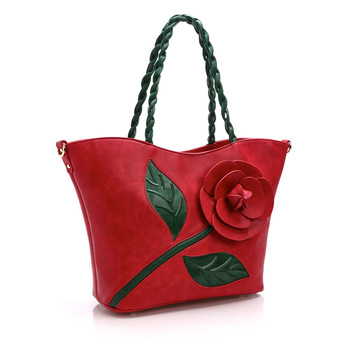 Classic Rose Three-dimensional Flower Bag Weave Portable Woman Package Single Shoulder Package Messenger