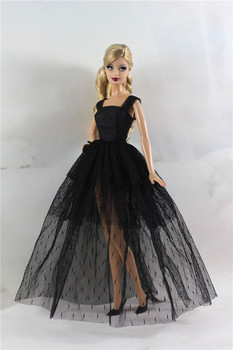 Retro Black Lace Long Dress Outfits Set for Barbie 1/6 BJD SD Doll Clothes Accessories Play House Dressing Up fur coat dress outfit set for barbie 1 6 bjd sd doll clothes accessories play house dressing up costume