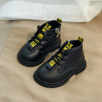 Kids Leather Shoes 2019 Autumn Children Fashion Martin Boots Baby Girls Shoes High Top Baby Boy Shoes Toddler Breathable Shoes