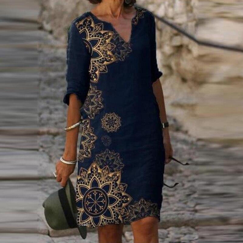 Женское цельнокроеное Платье До Колена, платье с коротким рукавом и цветочным принтом, летнее, Осеннее Повседневное платье с v-образным выре...