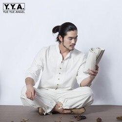 Retro estilo chino para hombre meditación algodón Lino 2 uds conjunto único pecho Tai Chi chándal transpirable trajes de verano trajes 2XL