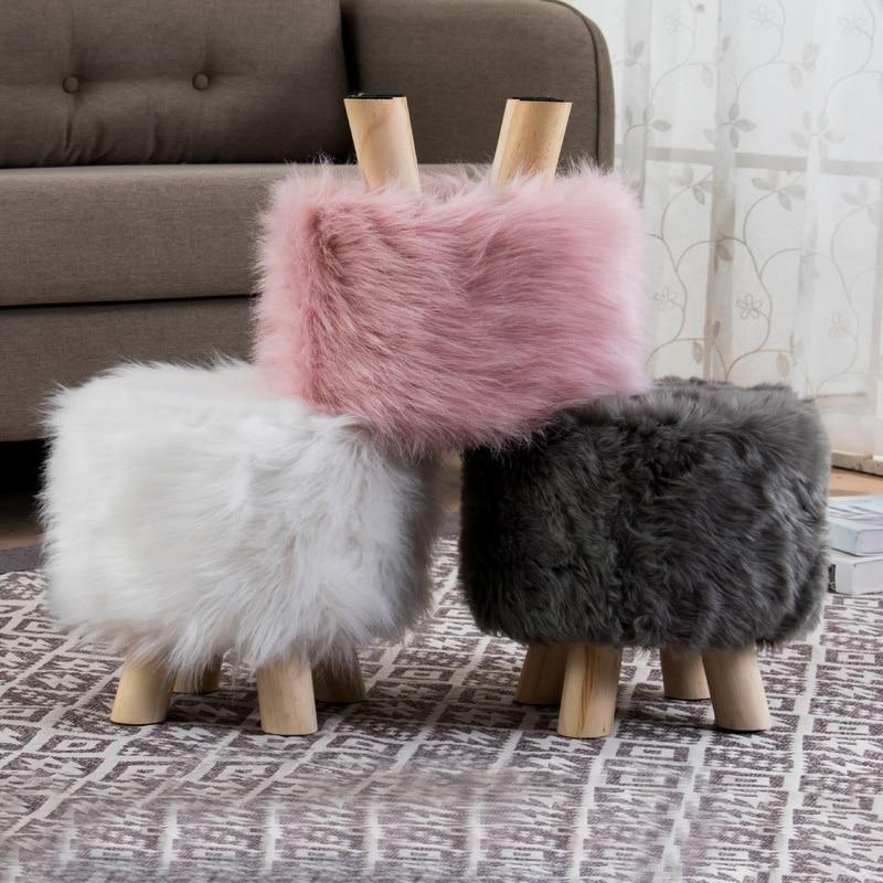 Plush Fabric Ottoman Footrest Artificial Wool Soft Sheepskin Sofa Stool Futon Home Footstool Protector Photo Props