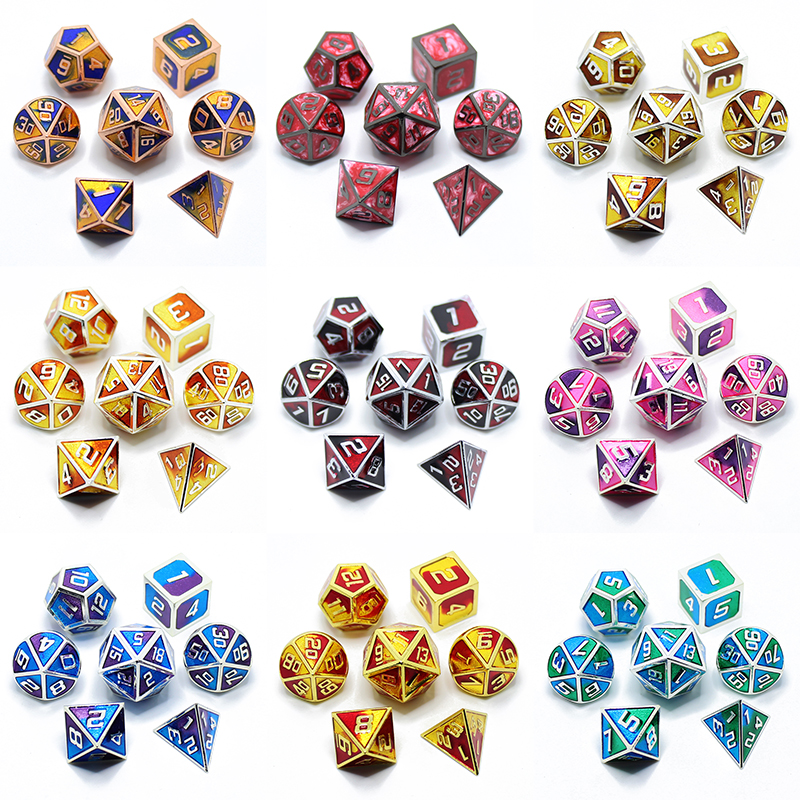 Dnd Dice Metal Rpg Set Polyhedral Dungeons And Dragons D20 D12 D10 D8 D6 4 Table Games Zinc Alloy Green Digital Polyhedral Dice