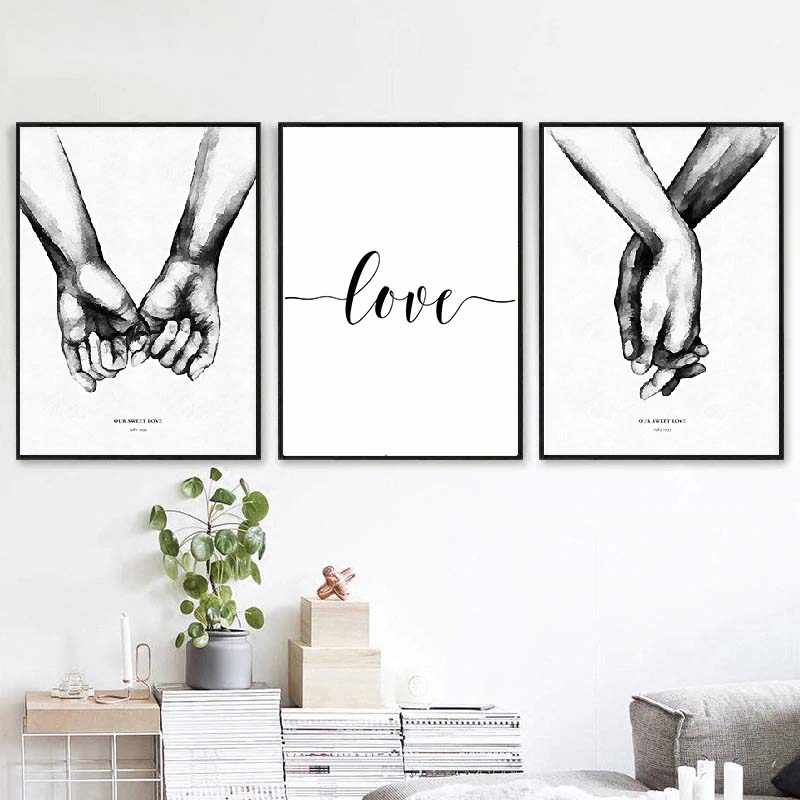 Nordic Back White Style Sweet Love Quotes Canvas Poster Prints paintings wall art picture home decoration