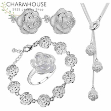 Charmhouse Silver 925 Jewelry Sets For Women Rose Flower Bracelet Ring Earrings Necklace 4 pcs Costume Jewelery Set Bijoux