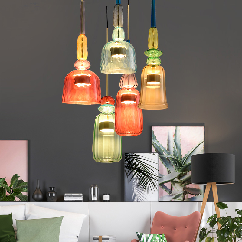Image 3 - Nordic Color Candy Pendant Lights modern Living Room Bedroom Childrens Room Single Head Glass Hanging Lamps Home Decor Fixtures-in Pendant Lights from Lights & Lighting
