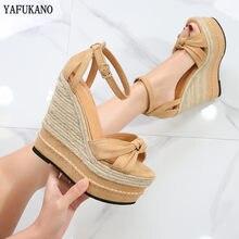 Sandales à talons compensés super hauts de 15cm, semelle épaisse, plateforme étanche pour femmes, style bohème, petite taille, chaussures pour femmes, 32,33