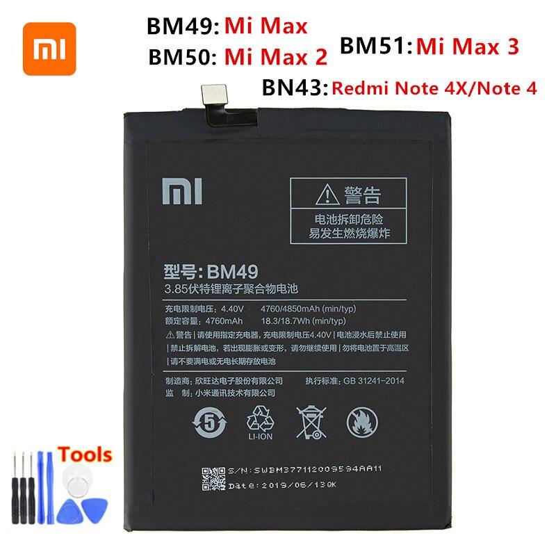 Xiao Mi 100% Orginal BM49 BM50 BM51 BN43 Battery For Xiaomi Mi Max Max 2 Max 3 Redmi Note 4X/Note 4 Replacement Batteries +Tools