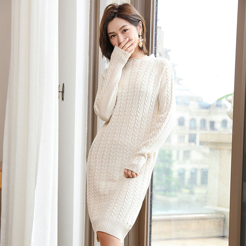 Robe pull dames tricot robe en cachemire chaud automne et hiver à manches longues sexy slim femmes pull o-cou longue robe pull