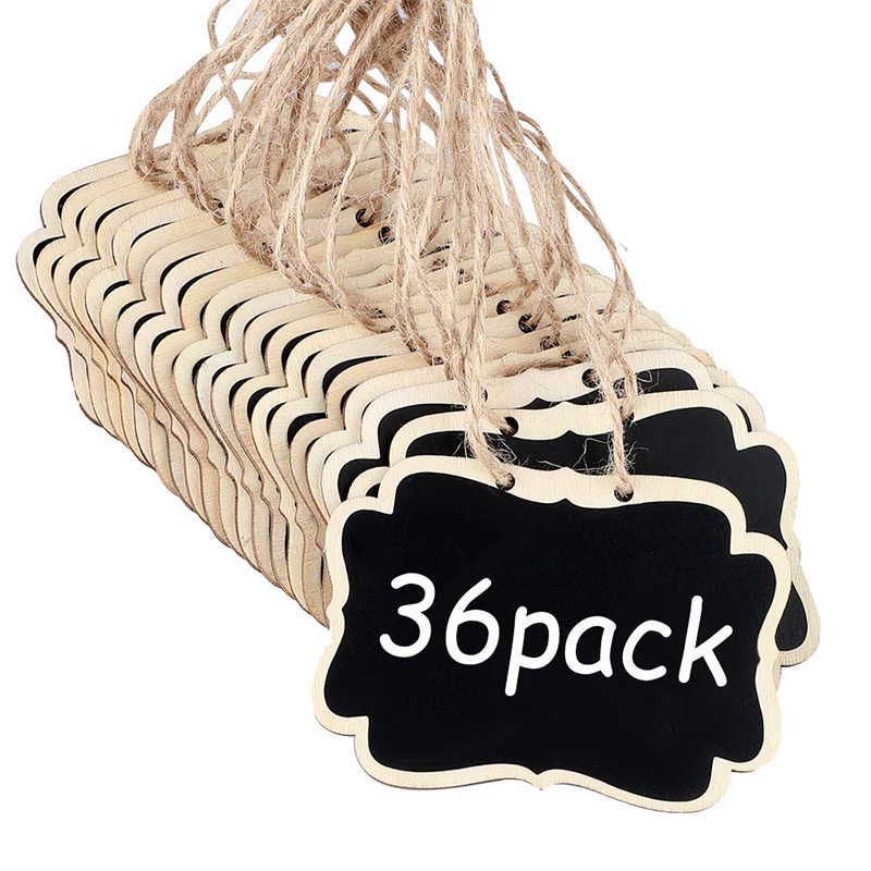 36 PCS Mini Chalkboards Signs, 3.54 X 2.55 Inch Hanging Chalkboards Signs Message Board Signs For Decorations Or Storage Sign