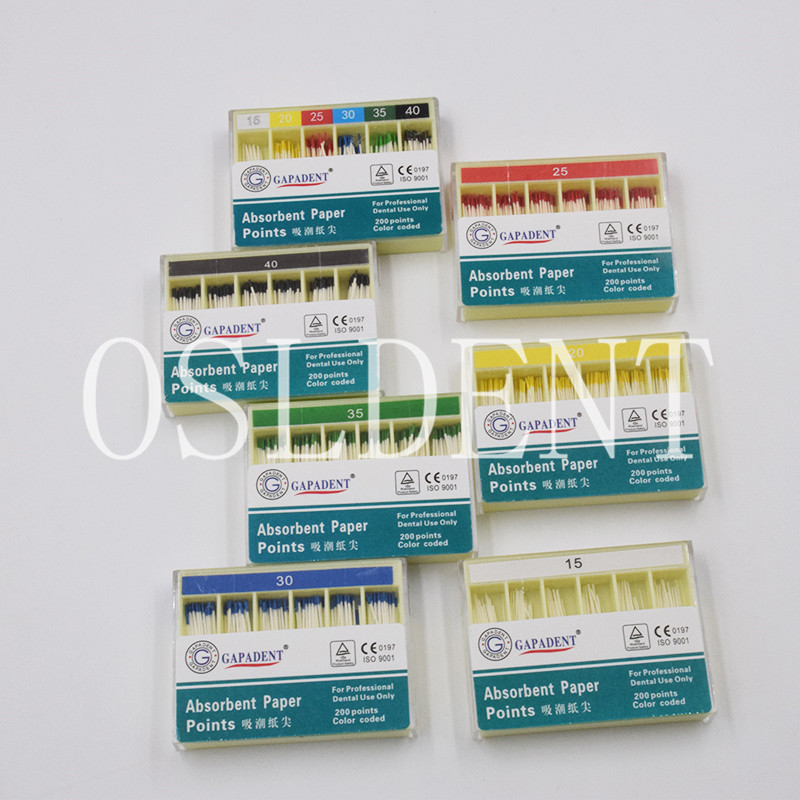 200Pcs/Pack #15-#40 7 Style Optional Dental Gutta Percha Absorbent Paper Points Sterile Endodontics Fiber Tips