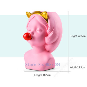 Image 3 - Creative Resin vase Cute girl bubble gum Decoration home living room dining table Decorative art portrait gold vase