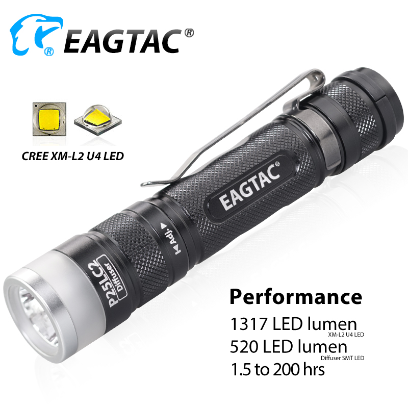 EAGTAC P25LC2 Diffuser XML2 Spot Flood Light Super Bright LED Flashlight CW NW 18650 CR123A Battery