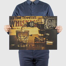 Wall-Stickers Paper-Series Whiskey Wine Retro-Poster-Bar Advertising Kraft Home-Decoration