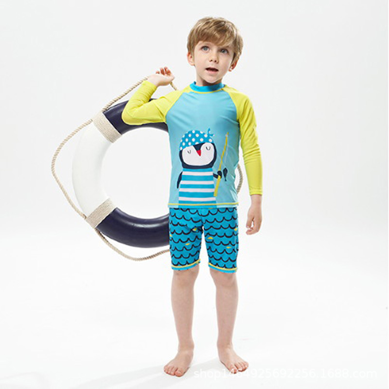 KID'S Swimwear BOY'S Split Type Small CHILDREN'S In Long Sleeve Sun-resistant Kids 3-4-10-Year-Old Kids Baby Boy Tour Bathing Su