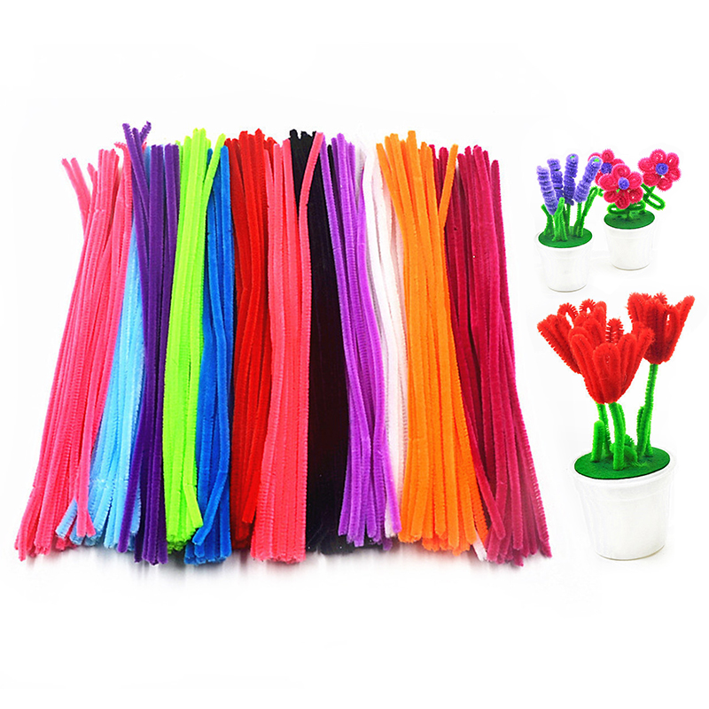 200pcs Handmade DIY Educational Toys Soft Felt Strip Rod Braiding Wire Children Sticks Colorful Twist Rod Craft Toys