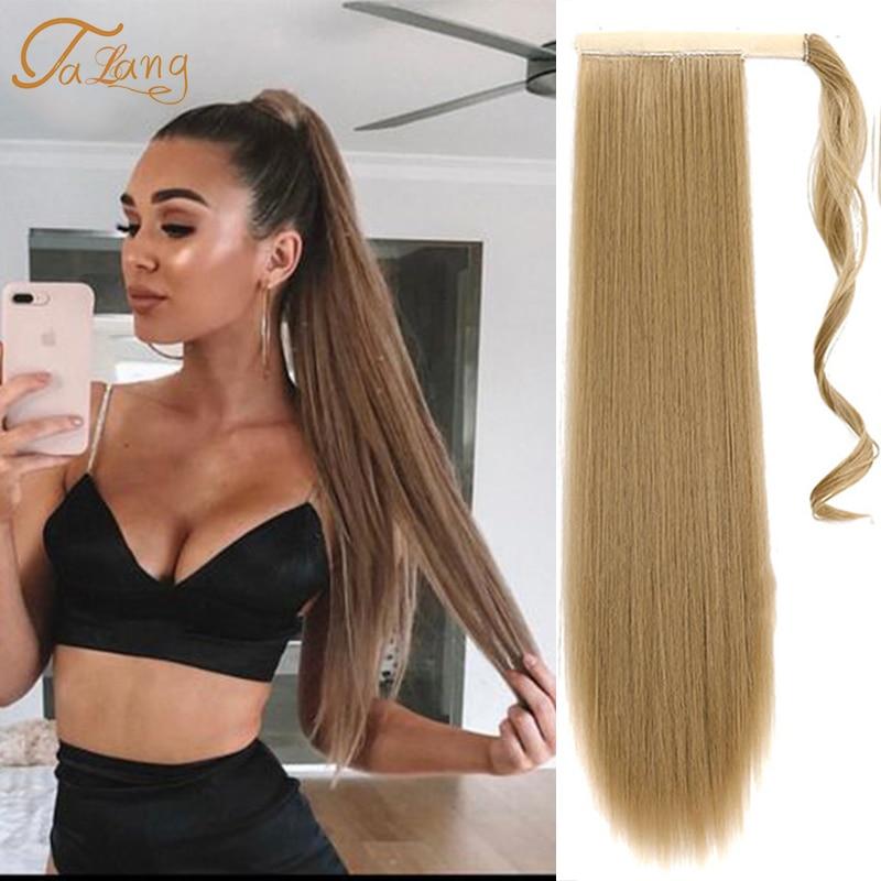 Talang wrap sintético rabo de cavalo extensão do cabelo super longo em linha reta grampo de cabelo feminino em extensões de cabelo pônei cauda cabelo falso