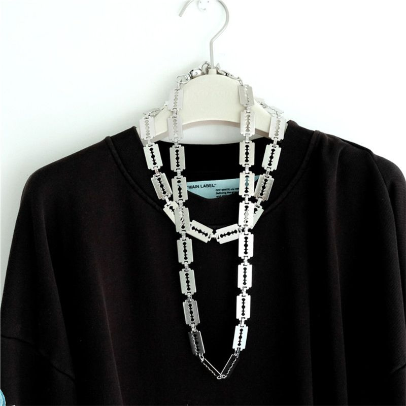 Fashion Retro Blade Styling Necklace Men Women Punk Dark Vintage Metal Necklaces Clothes Chain