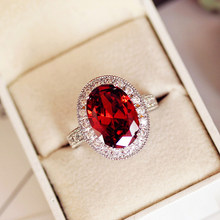 Luxury Male Female Big Oval Ring Charm 925 Sterling Silver Red Stone Ring Promise Wedding Engagement Rings For Men And Women(China)