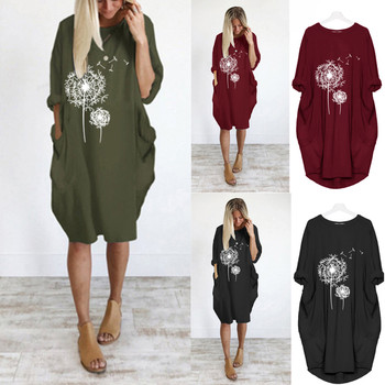 2021 Summer Loose Casual Dress For Fashion Women Casual Loose Print Pullover Dress Round Tie Pocket Dress Костюмы С Юбкой 1