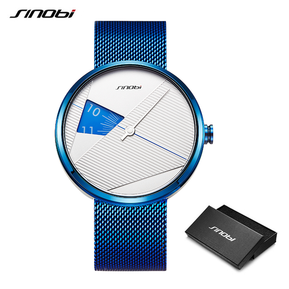 SINOBI 2019 Original Irregular Creative Men Watch Milan Strap Wristwatches Men rotate dial plate watches Sports watch Drop ship 1