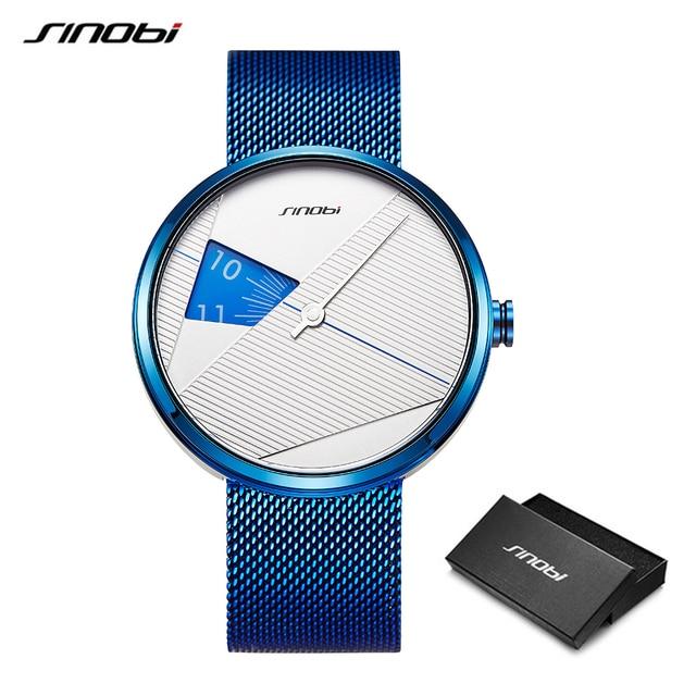 Sinobiブランドファッションクリエイティブメンズクォーツ時計ミラノストラップ腕時計高級ビジネス腕時計スポーツ腕時計レロジオmasculino