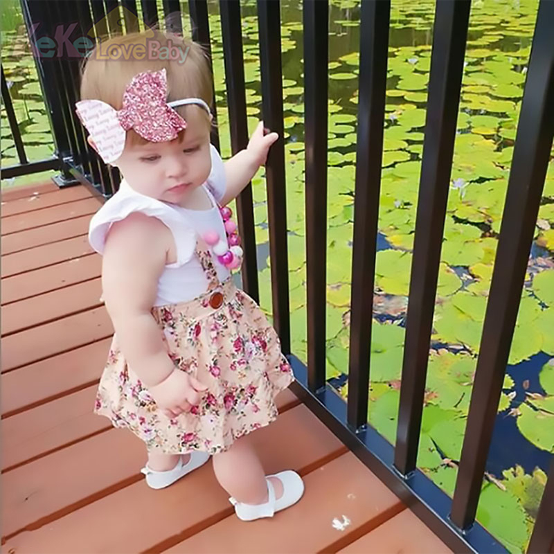 Baby Girl Clothes Newborn Infant Set Short Sleeve Toddler Summer Romper Flowers Dress Bow Headband Cute Baby Girls Clothing Set