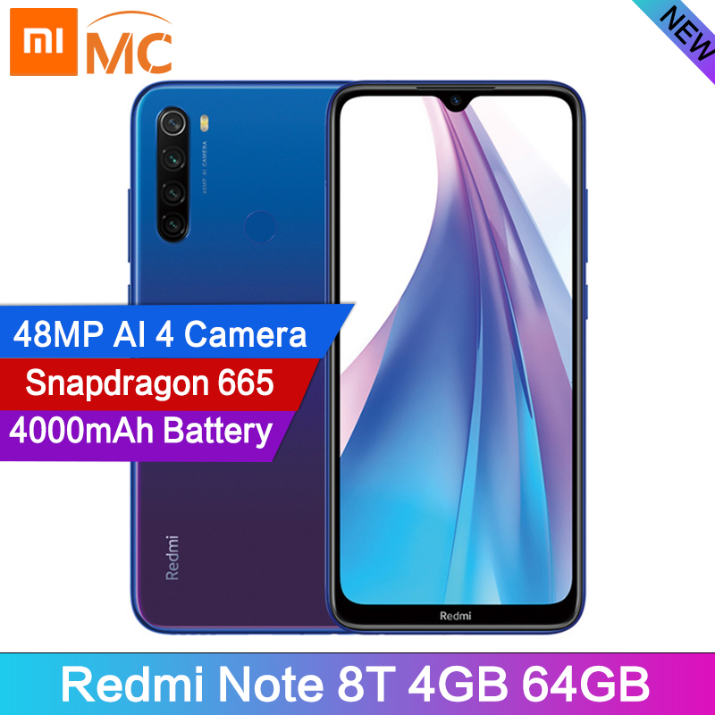 In Stock Global Version Redmi Note 8T 4GB 64G 48MP Camera Cellphone 6.3 Display Snapdragon665 Octa Core 4000mAh 18W Google PayCellphones   -