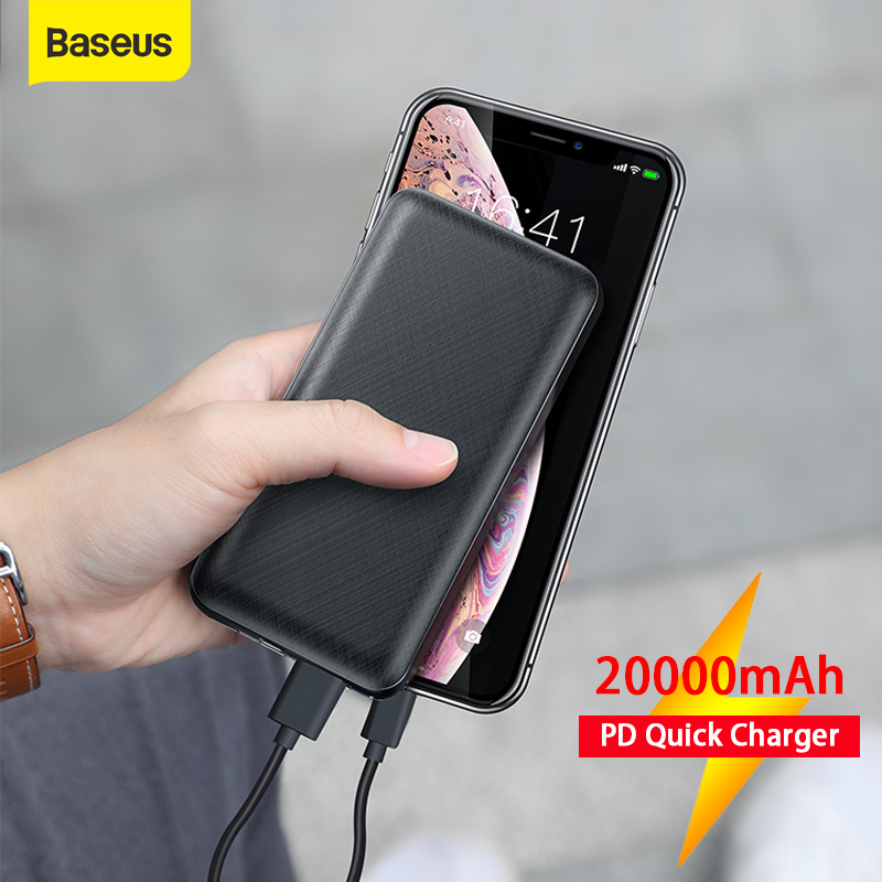 Baseus 20000mAh Power Bank Type C PD Fast Charging 3.0 USB Powerbank Quick Emergency External Battery For IPhone Samsung Huawei
