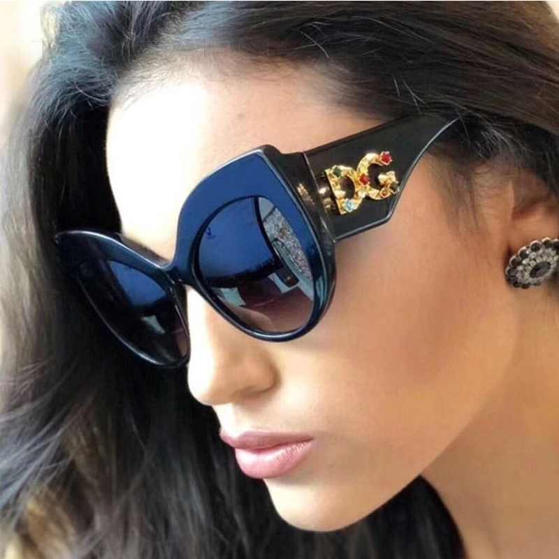 2020 New Fashion Brand Design Ladies Oversized Cat Eye Sunglasses Women Diamond Frame Sun Glasses For Female UV400