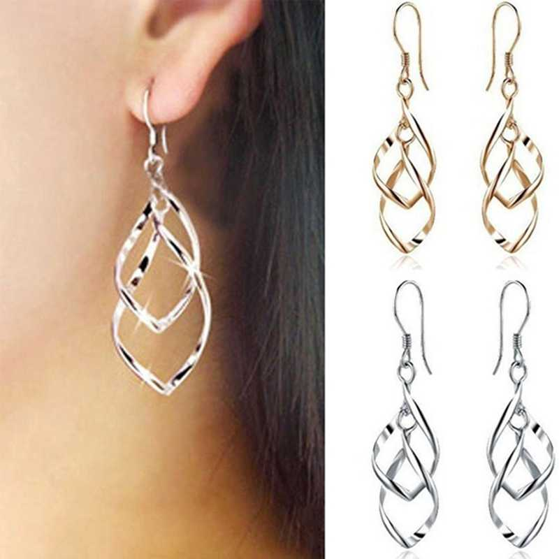 1 Pair!!! Classic Fashion Super Shiny Alloy Multilayer Earrings Twisted Earring Bicyclic Lady Earring