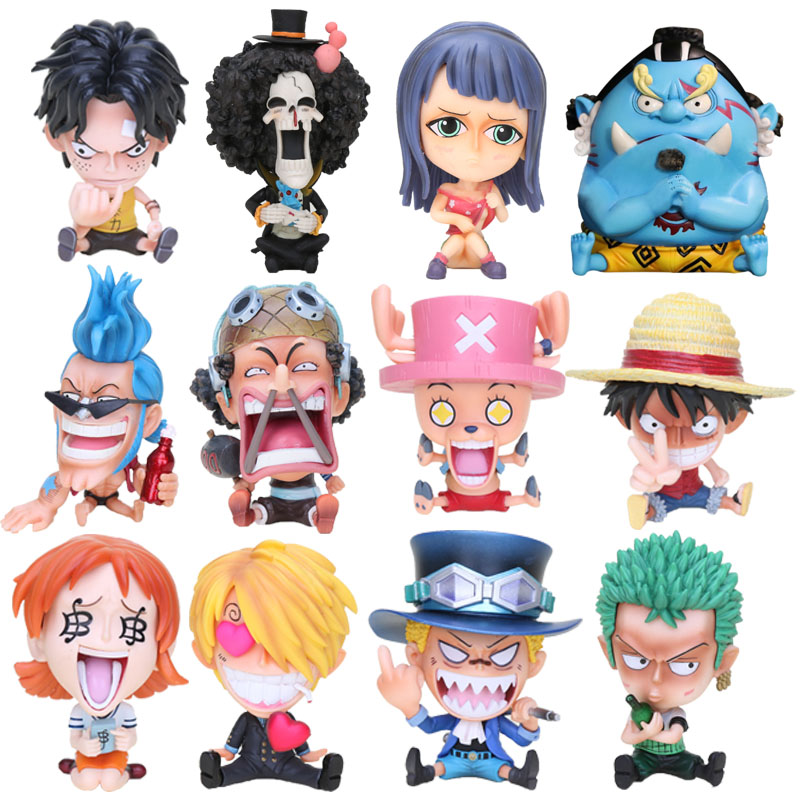 One Piece Childhood sabo Luffy Ace Chopper Sanji Roronoa Zoro GK Q Sitting Ver. Bottle Hugging PVC Action Figure Model Toy(China)